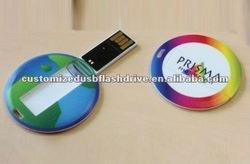 Full Color Round shape business card USB key OEM logo