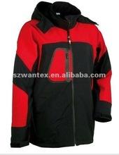 2012 mens hooded fleece lined Orange/black waterproof softshell jacket