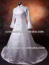 2012 OUMEIYA WD638-2 simple embroidery white arab long sleeve muslim wedding dress