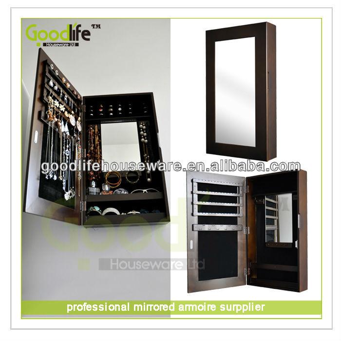 Wall mount bijoux armoire de rangement meubles en bois id - Meuble miroir avec rangement pour bijoux ...