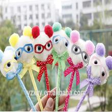Wholesale pen fashion glass bear,plush ballpen for souvenir shop