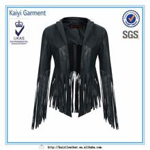 2014 new black cool leather fringe jacket, ladies charming sex apparel