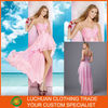 Latest Charming Off Shoulder Sweetheart Pink Chiffon Front Short Long Back Party Dress