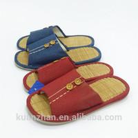 Cotton cloth binding fabric Bamboo button woman slipper