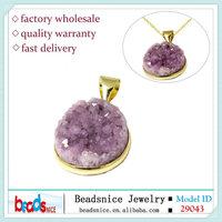 Beadsnice ID 29043 Fashion jewelry Natural Drusy Quartz amethyst Pendants druzy pendant