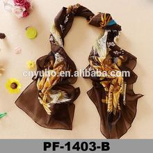 Flower Pattern new design Silk Chiffon Digital Printing 160*50cm high quality muffler alibaba scarf