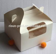 New design window cardboard white cupcake box / paper cake box / paper cake box with handle