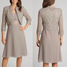 3/4 sleeve jacket tea length mother of the bride dress for fat