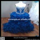 Real Photo Organza Ruffle Bride Ball Gown Crystal Beading Royal Blue Wedding Dresses
