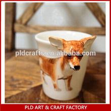 Promotion 10oz Funnel Shape 3D cartoon animal mug For Kids