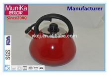 Munika red enamel tea kettles whistling,stove top porcelain tea kettles