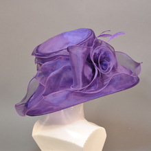 fancy elegant purple organza church hat for ladies