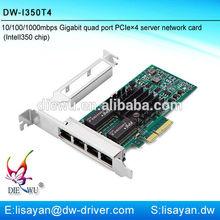 Shenzhen 1000mbps Intel I350-T4 types of 4 port pci express gigabit ethernet lan card