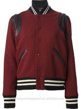 2015 high quality varsity bomber jacket mens wool red color varsity bomber jacket wholesale