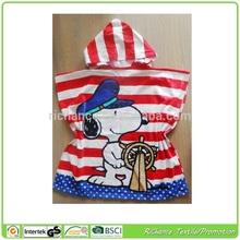 custom design kids hooded poncho towel printed kids hooded poncho towel,baby hooded towel wholesale