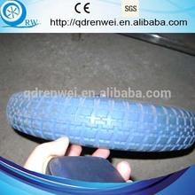 blue pu foam tire replacement for wheelbarrow with turf tread