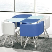 Star product space save blue and white tempered Glass dining table powder coating dining set 1+4 seaters PDT14924