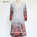 2014 v profundo neck contraste cor padrão de impressão de três quartos casaco manga estilo do vestido do vintage