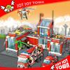 new 2014 product fire station toy brick plastic building blocks toy market fire engine toys play set JOYJOYTOWN 8051