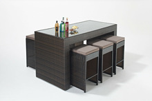 QHA-2013-S1 Vintage Bar Stool & Metal Rattan Patio Bar Table With Chair & French Bistro Bar Set
