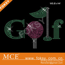 Green and pink colored font golf custom rhinestone iron on transfer cheer