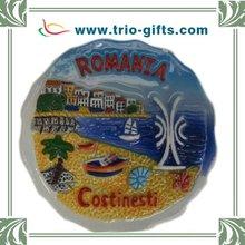Tourist souvenir round shape ceramic fridge magnet