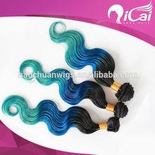 New Arrival cheap 5a grade 100% Human Hair Ombre Brazilian Virgin Hair ,Black/ Blue/Green color hair extension