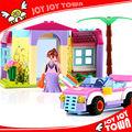 Vente en gros de direct Chinois de nouveaux articles promotionnels briques 2014 villa de construction de maison modèle de voiture Playmobil jouet en plastique de jouet 20123