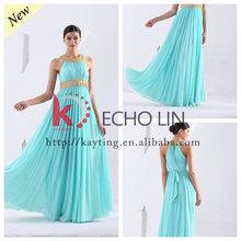 Floor length halter back cover middle east evening dress Arabic simple wedding dress