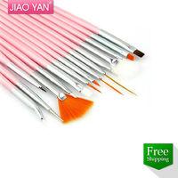 Free Shipping 15pcs Pink Drawing Nail Art Design Brush Set #4305
