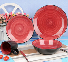 16pcs red inner black outer two tone ceramic dinnerware wholesale
