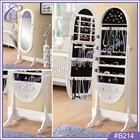 Oval Shape Mirror Jewelry Cabinet