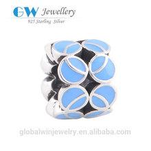 Wholesale New Fashion Jewelry 925 Sterling Silver Slide Charm Blue Leaf Italian Enamel Jewelry