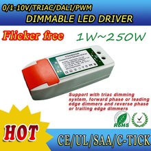 No flicker Triac/0-10v/DALI/PWM constant current led dimmable driver to 0-220v Lutron schneider ABB dimming system