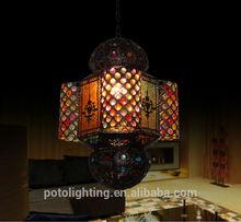 Antique Vintage Moroccan Pendant Lamp with Decorative Acrylic