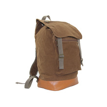 Brown heavy duty canvas backpack bag with PU decoration