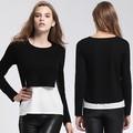 Ladies' falsas dois pcs conjunto moda blusa de corte