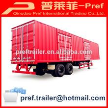 China manufacturer 2 axles van semi trailer/strong box trailers/grain semi trailer dimensions