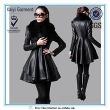 2015 new fashion dress style winter women coat with detachable fur collar