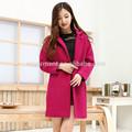 النساء نمط جديد معطف الصوف، المرأة معطف طويل، معطف الشتاء النساء 2014 كوريا