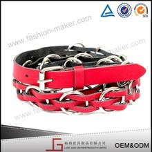 Pure Handmade Durable Braided Rope Belt, Red PU Woman Western Braided Belt
