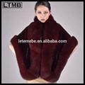 2015 europa design di lusso/di pelliccia di visone donne Cape/con collo di pelliccia di volpe/cappotto di pelliccia di visone frpm cina