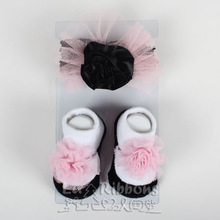 Fashion baby accessories,elastic headband with socks set,hairbow baby decorations