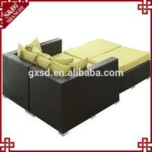 S&D double chaise lounge rattan outdoor/indoor rattan sofa bed garden rattan bed