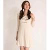 Ladies beige bird printed pattern comfort lounge dress, nightdress, nightshirt, casualwear, loungewear, sleepwear