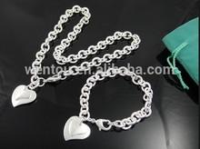heart shape rhinestone wholesale chain 925 sterling silver jewelry