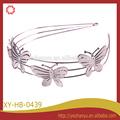 La moda de tres capas de la mariposa del metal plateado hairband