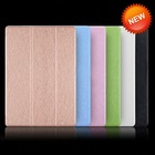 Cheap price silk grain ultra thin leather case for apple ipad air 2 case smart cover