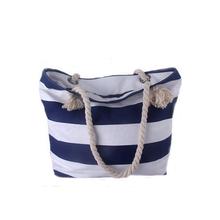 2015 new design canvas rope handle beach bag