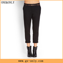 classic lady custom cuff trousers above ankle fitted black pants women P0027